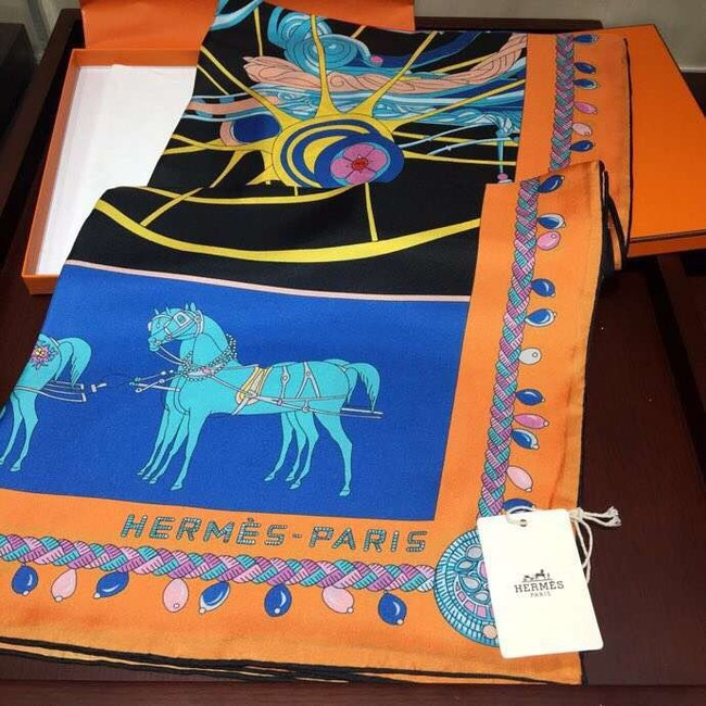Hermes Scarf in silk twill with hand rolled edges H2566