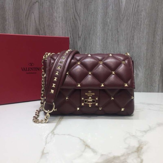 VALENTINO Candy quilted leather cross-body bag 0072 dark red
