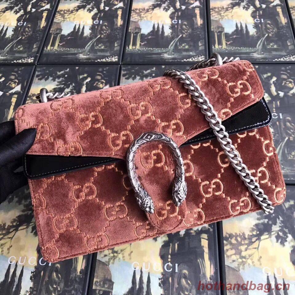Gucci Dionysus GG velvet small shoulder bag 400249 Brown