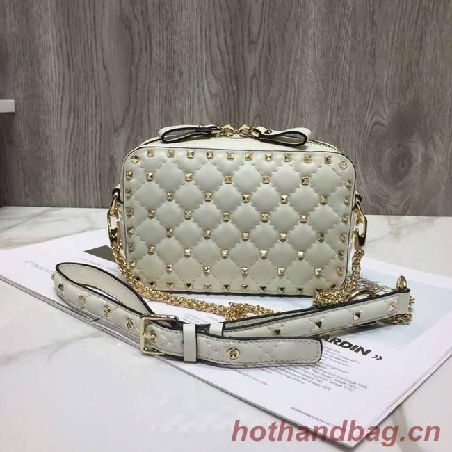 VALENTINO Rockstud leather camera cross-body bag 57367 creamy-white