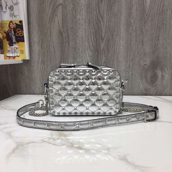 VALENTINO Rockstud leather camera cross-body bag 57367 silver