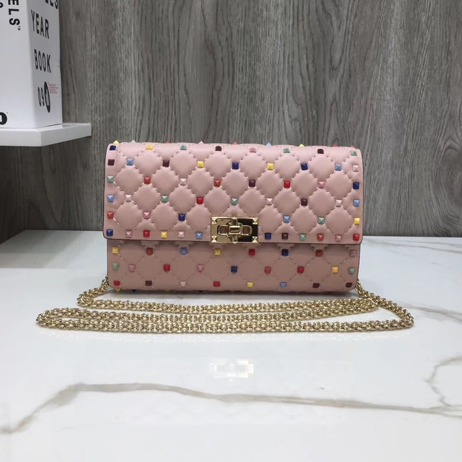 VALENTINO Rockstud quilted leather cross-body bag 72610 pink
