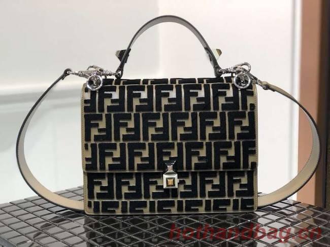 Fendi KAN I Multicolor fabric bag 8BT283A black&Khaki
