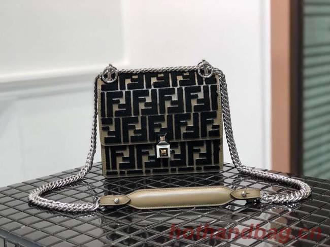 Fendi KAN I SMALL Multicolor fabric mini-bag 8BT0381 black&Khaki