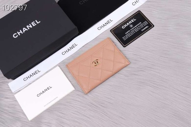 Chanel classic card holder Grained Calfskin & Gold-Tone Metal A31510 apricot