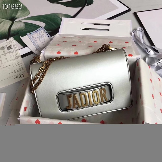 Dior Jadior Flap Bag with Chain Calfskin M9000C silver