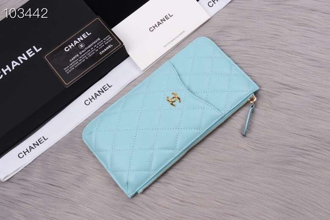Chanel classic pouch Grained Calfskin& gold-Tone Metal A84402 light green