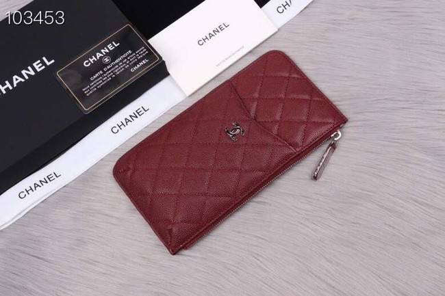 Chanel classic pouch Grained Calfskin& silver-Tone Metal A84402 Burgundy