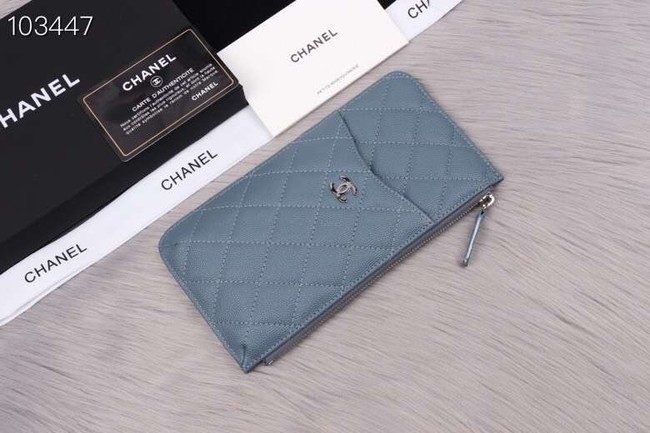 Chanel classic pouch Grained Calfskin& silver-Tone Metal A84402 light blue