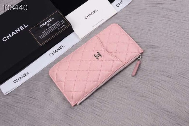 Chanel classic pouch Grained Calfskin& silver-Tone Metal A84402 pink