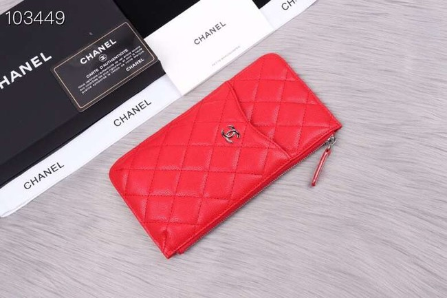 Chanel classic pouch Grained Calfskin& silver-Tone Metal A84402 red