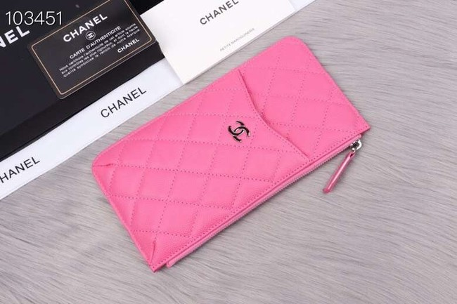 Chanel classic pouch Grained Calfskin& silver-Tone Metal A84402 rose