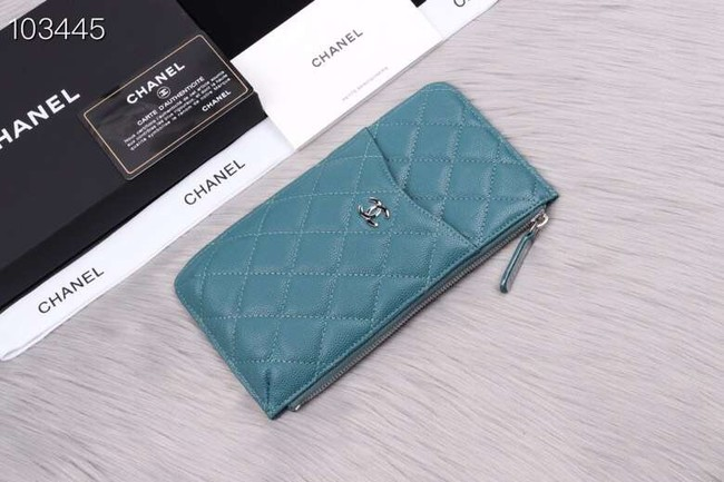Chanel classic pouch Grained Calfskin& silver-Tone Metal A84402 sky blue