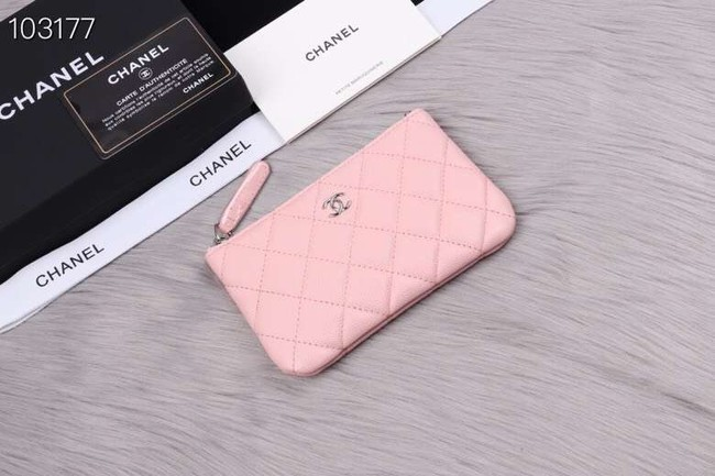 Chanel classic small pouch Grained Calfskin& silver-Tone Metal A82365 pink