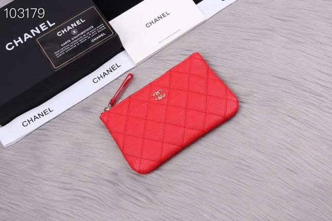 Chanel classic small pouch Grained Calfskin& silver-Tone Metal A82365 red