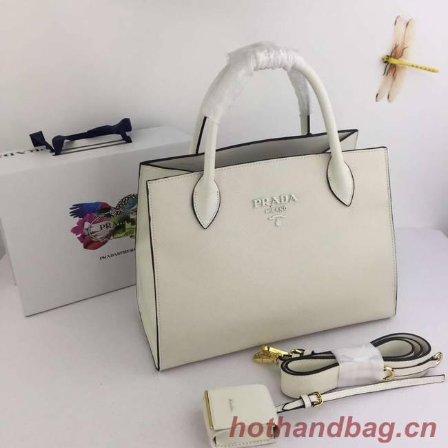 Prada Calfskin Leather Shoulder Bag 1BA155-1 cream
