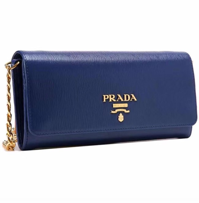 Prada Calfskin Leather Shoulder Bag 1BP290 dark blue