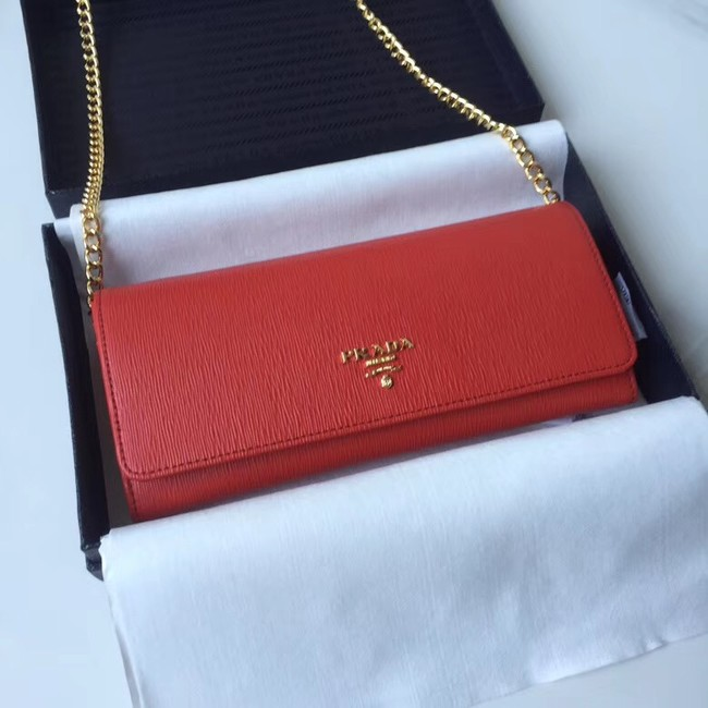 Prada Calfskin Leather Shoulder Bag 1BP290 red