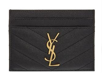 SAINT LAURENT Monogram leather card holder 88337 Gold-Tone Metal Black