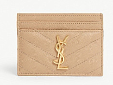 SAINT LAURENT Monogram leather card holder 88337 Gold-Tone Metal apricot