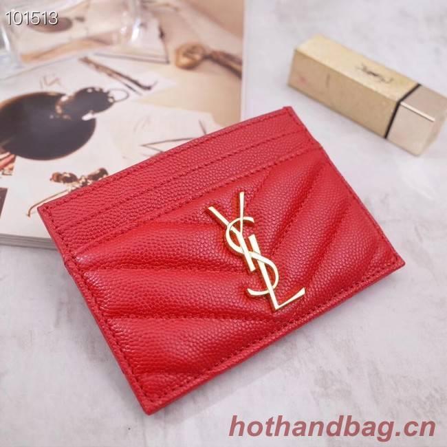 SAINT LAURENT Monogram leather card holder 88337 Gold-Tone Metal red