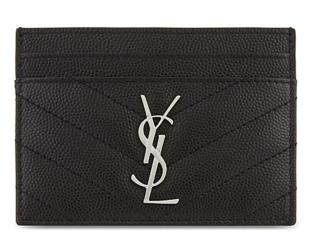 SAINT LAURENT Monogram leather card holder 88337 black Silver-Tone Metal
