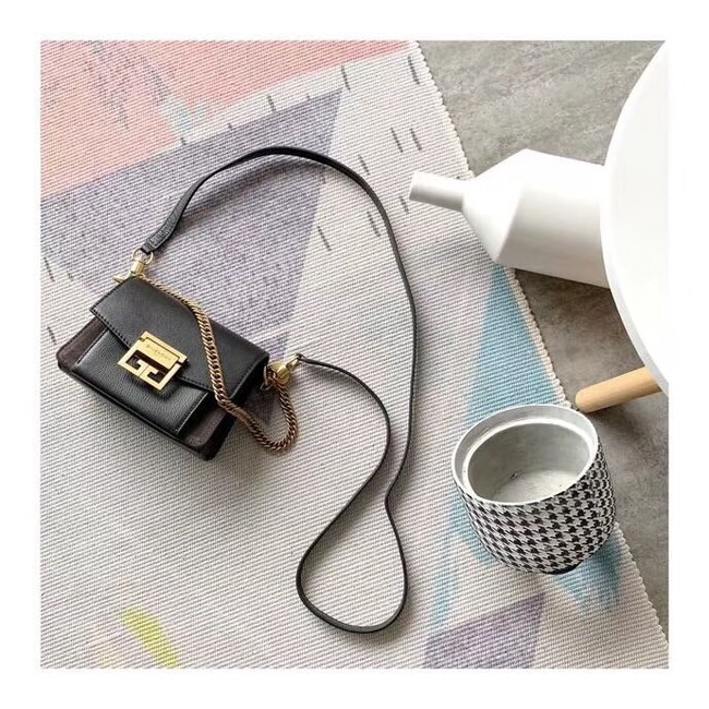 GIVENCHY GV3 leather and suede mini shoulder bag 1116 black