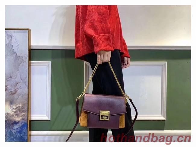 GIVENCHY GV3 leather and suede shoulder bag 9989 Burgundy
