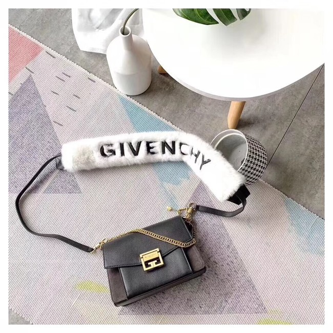 GIVENCHY GV3 leather and suede shoulder bag 9989 black