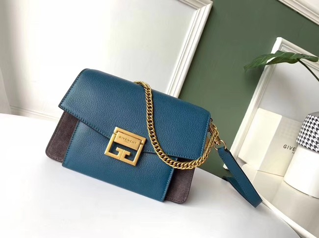 GIVENCHY GV3 leather and suede shoulder bag 9989 blue