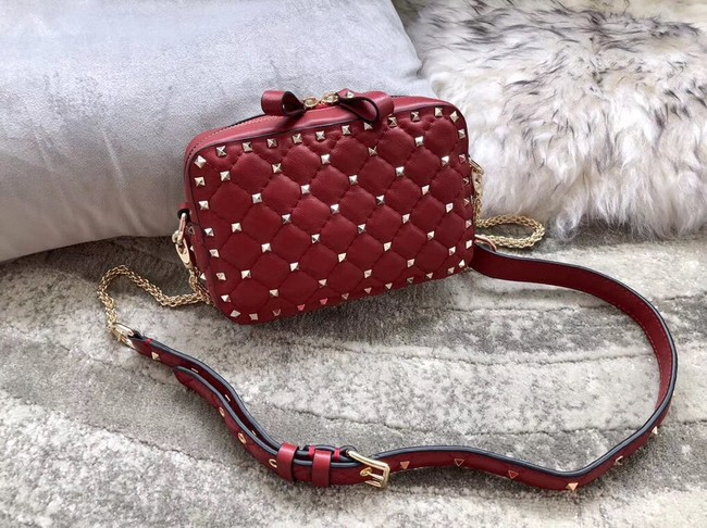 VALENTINO Rockstud leather camera cross-body bag 57367 red