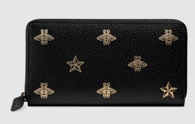 Gucci Bee Star leather zip around wallet 495062 black