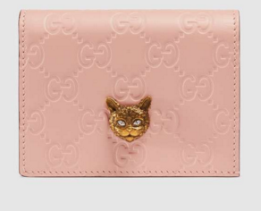 Gucci Signature card case with cat 548057 Pink