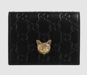 Gucci Signature card case with cat 548057 black