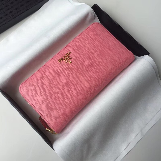 Prada Leather Large Zippy Wallets 1ML505 pink