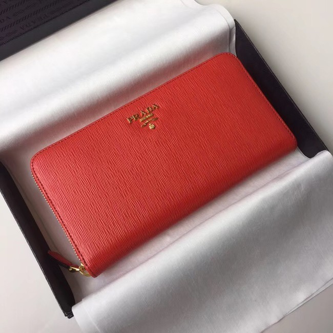 Prada Leather Large Zippy Wallets 1ML505 red