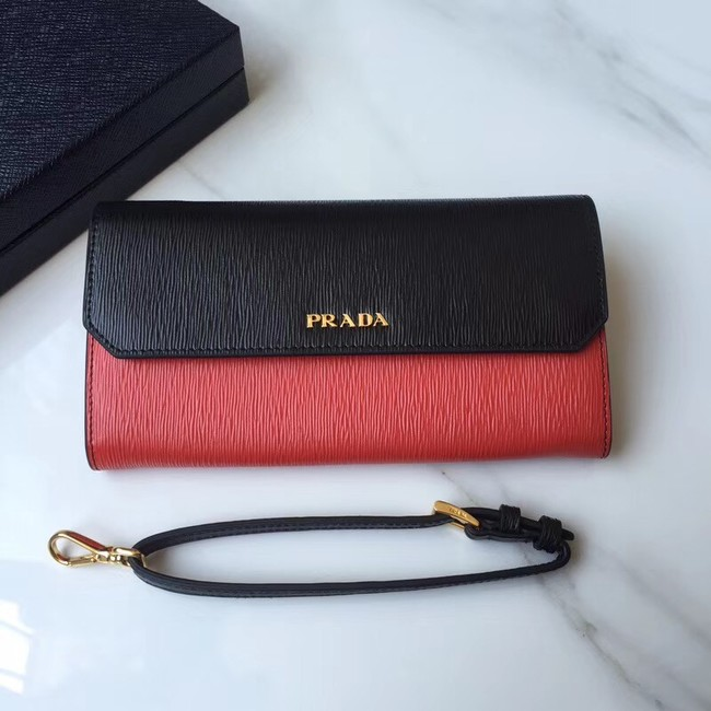 Prada leather mini-bag 1DF003 black&red