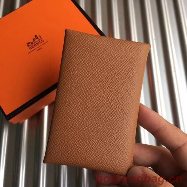 Hermes Bastia Epsom card case H0369 Camel