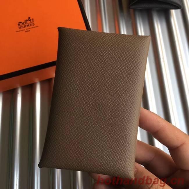 Hermes Bastia Epsom card case H0369 Khaki