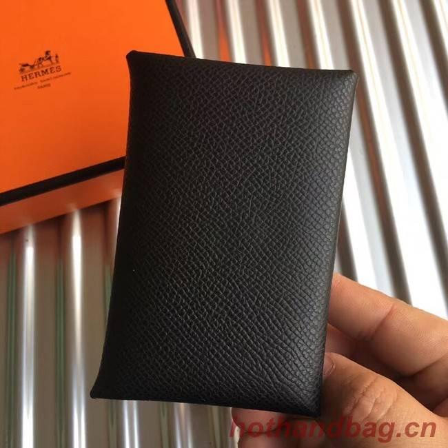 Hermes Bastia Epsom card case H0369 black