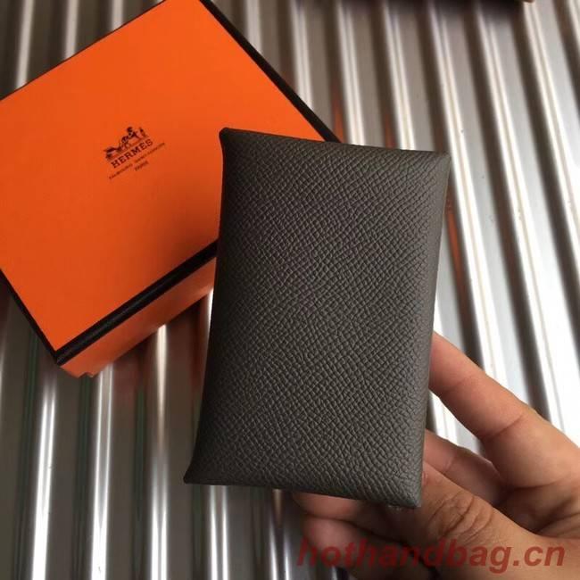 Hermes Bastia Epsom card case H0369 dark grey
