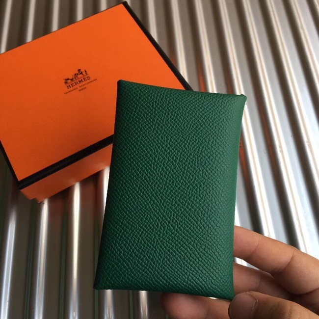 Hermes Bastia Epsom card case H0369 green