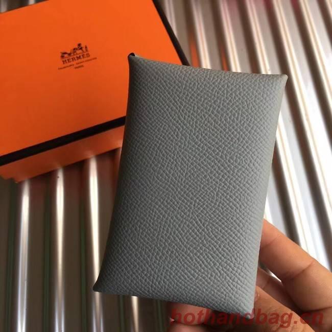 Hermes Bastia Epsom card case H0369 grey
