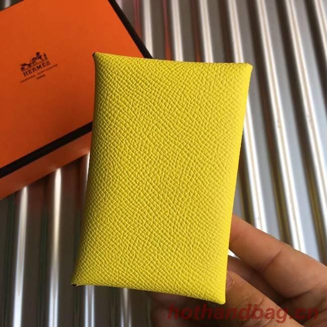 Hermes Bastia Epsom card case H0369 lemon