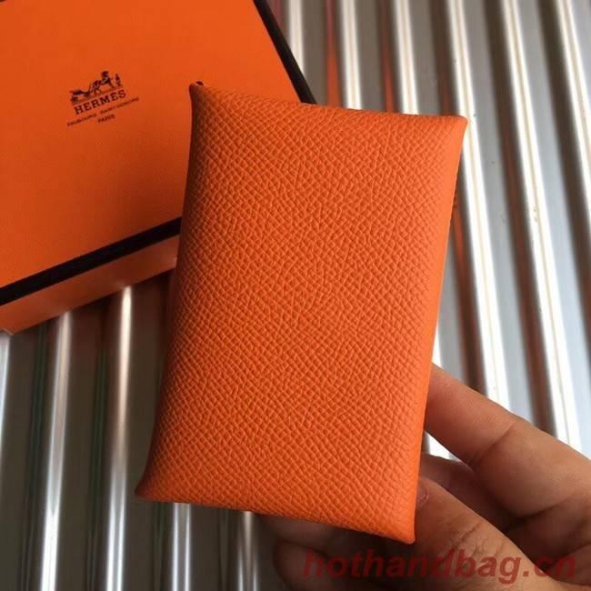 Hermes Bastia Epsom card case H0369 orange