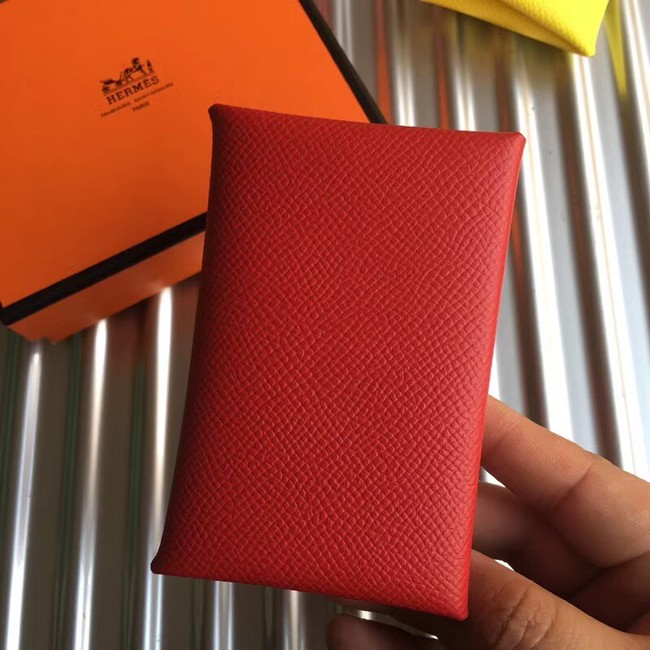Hermes Bastia Epsom card case H0369 red