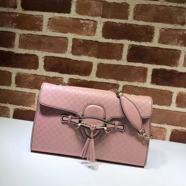 Gucci GG Leather Shoulder Bag 449635 Pink