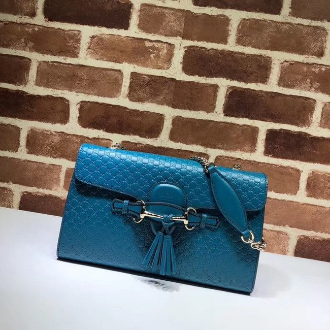 Gucci GG Leather Shoulder Bag 449635 blue
