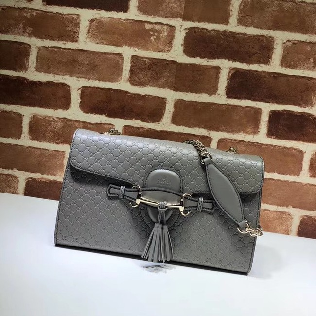 Gucci GG Leather Shoulder Bag 449635 grey