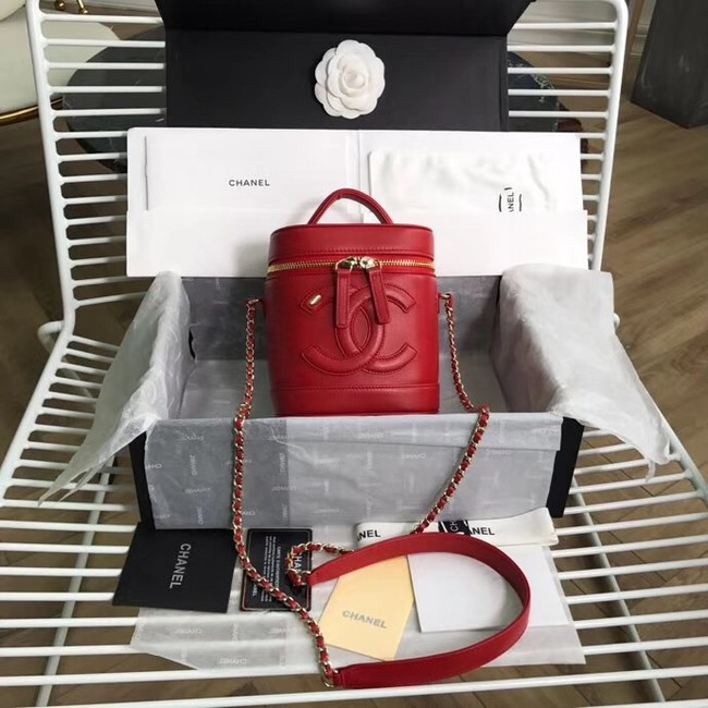 Chanel vanity case Lambskin & Gold-Tone Metal AS0323 red